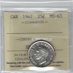 Canada 1947 Silver 25 Cent ICCS MS63