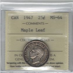 Canada 1947 Silver 25 Cent Maple Leaf ICCS MS64