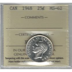 Canada 1948 Silver 25 Cent ICCS MS62