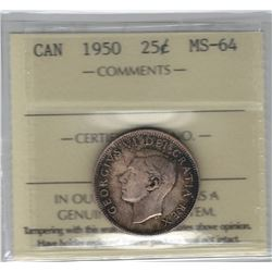 Canada 1950 Silver 25 Cent ICCS MS64