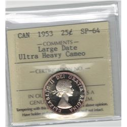 Canada 1953 Silver 25 Cent Large Date ICCS SP64 Ultra Heavy Cameo Rare