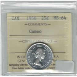 Canada 1956 Silver 25 Cent ICCS MS64 Cameo
