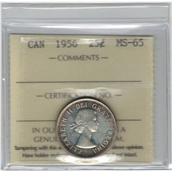Canada 1956 Silver 25 Cent ICCS MS65