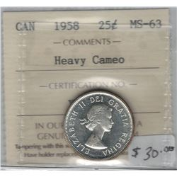 Canada 1958 Silver 25 Cent ICCS MS63 Heavy Cameo