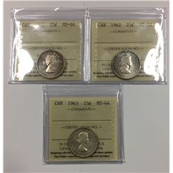 Canada 1961, 1962 & 1963 Silver 25 Cent Lot ICCS MS64