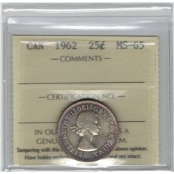 Canada 1962 Silver 25 Cent ICCS MS65