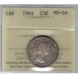 Canada 1964 Silver 25 Cent ICCS MS64