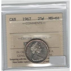 Canada 1967 Silver 25 Cent ICCS MS64