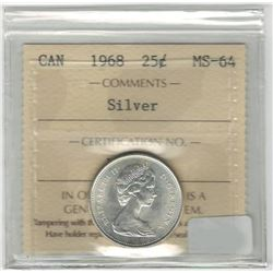 Canada 1968 Silver 25 Cent ICCS MS64