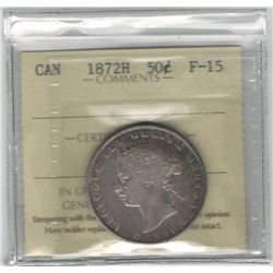 Canada 1872H Silver 50 Cent ICCS F15