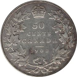 Canada 1902 Silver 50 Cent VF Scratches.