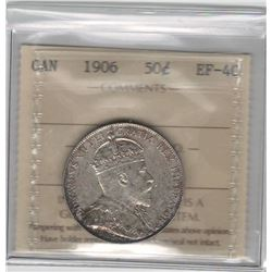Canada 1906 Silver 50 Cent ICCS EF40