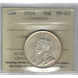 Canada 1919 Silver 50 Cent ICCS MS63