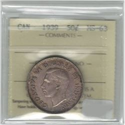 Canada 1939 Silver 50 Cent ICCS MS63