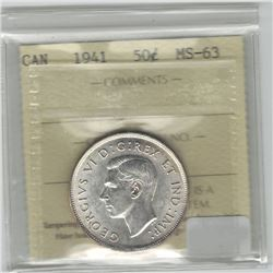 Canada 1941 Silver 50 Cent ICCS MS63