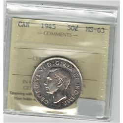 Canada 1945 Silver 50 Cent ICCS MS63