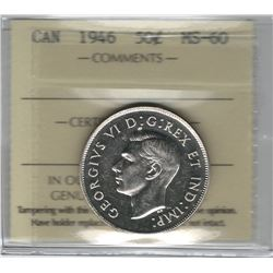 Canada 1946 Silver 50 Cent ICCS MS60