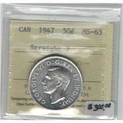 Canada 1947 Silver 50 Cent Straight 7 ICCS MS63