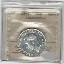 Canada 1949 Silver 50 Cent ICCS MS63