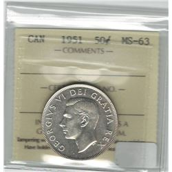 Canada 1951 Silver 50 Cent ICCS MS63
