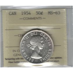 Canada 1954 Silver 50 Cent ICCS MS63