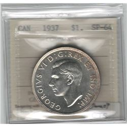 Canada 1937 Silver Dollar ICCS SP64 Matte