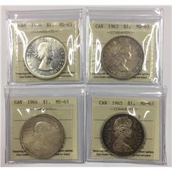 Canada 1958, 1963, 1964, 1965 Silver Dollar Lot ICCS MS63