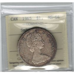 Canada 1965 Silver Dollar Small Beads Blunt 5 ICCS MS64
