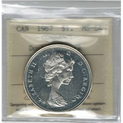 Canada 1967 Silver Dollar Double Struck ICCS MS64