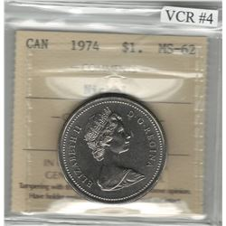Canada 1974 Winnipeg Nickel Dollar Double Yoke VCR#4 ICCS MS62