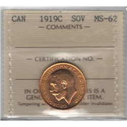Canada 1919C Gold Sovereign ICCS MS62