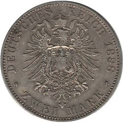 German States Prussia 1888A 2 Mark