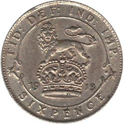 Great Britain 1913 Silver 6 Pence