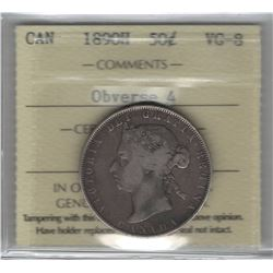 Canada 1890H Silver 50 Cent Obverse 4 ICCS VG8. Key Date.