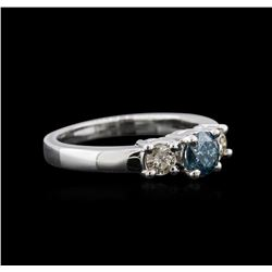 14KT White Gold 0.84 ctw Fancy Blue Diamond Ring