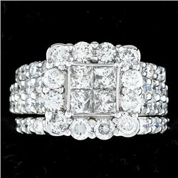 3.90 ctw Diamond Ring Set - 14KT White Gold