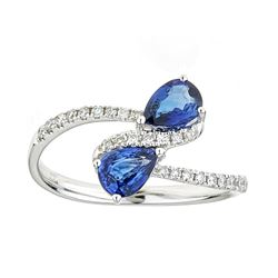 0.94 ctw Sapphire and Diamond Ring - 18KT White Gold