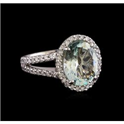 3.71 ctw Aquamarine and Diamond Ring - 14KT White Gold