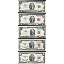 Lot of (5) 1953 $2 Legal Tender Notes