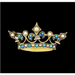 Seed Pearl and Turquoise Crown Motif Pin - 9KT Yellow Gold