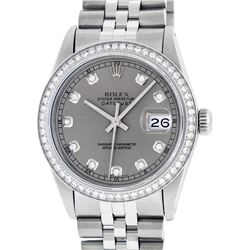 Rolex Mens Stainless Steel Slate Grey Diamond 36MM Datejust Wristwatch