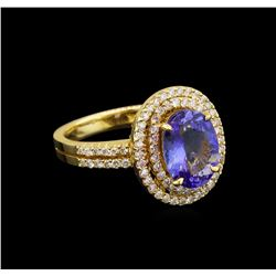14KT Yellow Gold 3.02 ctw Tanzanite and Diamond Ring