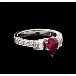 1.16 ctw Ruby and Diamond Ring - 18KT White Gold