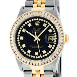 Rolex Mens 2 Tone 14K Black String Princess Cut Diamond Datejust Wristwatch
