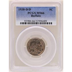 1938-D/D Buffalo Nickel Coin PCGS MS66