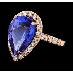 GIA Cert 8.88 ctw Tanzanite and Diamond Ring - 14KT Rose Gold