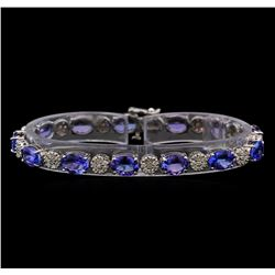 14KT White Gold 17.16 ctw Tanzanite and Diamond Bracelet