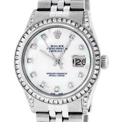 Rolex Mens Stainless Steel MOP Diamond Lugs 36MM Datejust Wristwatch
