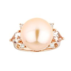 Pearl, Morganite and Diamond Ring - 14KT Rose Gold