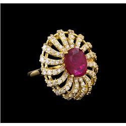 GIA Cert 3.23 ctw Ruby and Diamond Ring - 14KT Yellow Gold